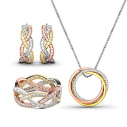 Jeulia Tri-Tone Intertwined Sterling Silver Jewelry Set
