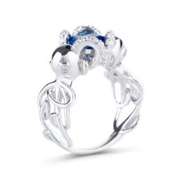 Jeulia Entwined Radiant Cut Sterling Silver Octopus Ring
