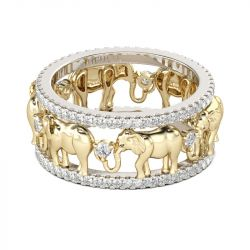 Jeulia Two Tone Round Cut Sterling Silver Elephant Band