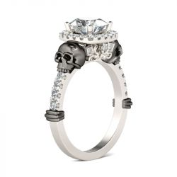 Jeulia Halo Cushion Cut Sterling Silver Skull Ring