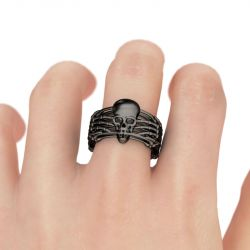 Jeulia Black Skeleton Sterling Silver Skull Ring
