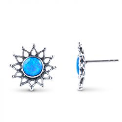 Jeulia Sunflower Opal Stud Earrings