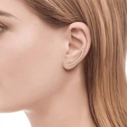Jeulia Curved Sterling Silver Climber Earrings