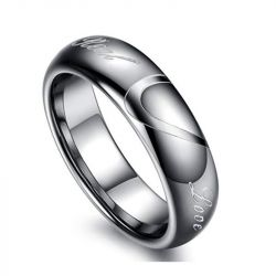 Jeulia Heart Tungsten Steel Men's Band