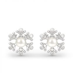 Jeulia Snowflake Cultured Pearl Sterling Silver Stud Earrings