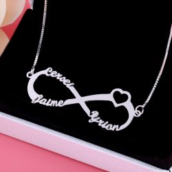 Jeulia Heart Shape Three Name Infinity Necklace Sterling Silver