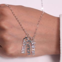Jeulia Vertical Name Necklace Sterling Silver