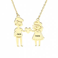 Jeulia Couple Personalized Sterling Silver Necklace