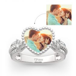 """Jeulia """"You Are Special"""" Sterling Silver Personalized Photo Ring"""