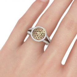 Jeulia Halo Honeycomb Sterling Silver Ring