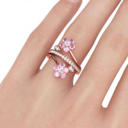 Jeulia Rose Gold Tone Floral Round Cut Sterling Silver Ring