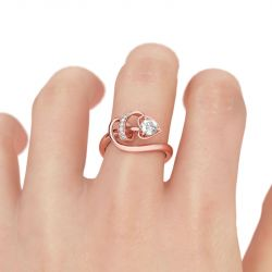Jeulia Heart & Arrow Round Cut Sterling Silver Promise Ring