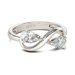 Jeulia Two Stone Infinity Sterling Silver Ring