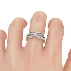 Jeulia Twist Infinity Shape Sterling Silver Promise Ring