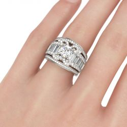Jeulia Butterfly Design Round Cut Sterling Silver Ring Set