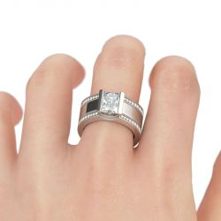 Jeulia 3PC Stackable Radiant Cut Sterling Silver Ring Set