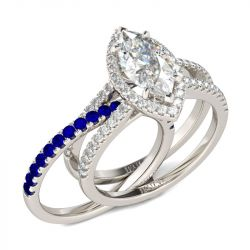 Jeulia Halo Marquise Cut Sterling Silver Ring Set