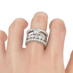 Jeulia 4PC Round Cut Sterling Silver Ring Set
