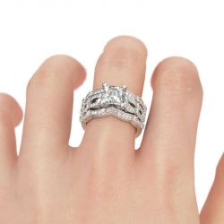Jeulia 3PC Princess Cut Sterling Silver Ring Set