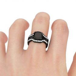 Jeulia Black Tone Cushion Cut Sterling Silver Ring Set