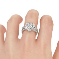 Jeulia Halo Heart Cut Sterling Silver Ring Set