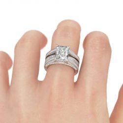 Jeulia Simple Radiant Cut Sterling Silver Ring Set