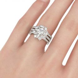 Jeulia Flower Design Round Cut Sterling Silver 3PC Ring Set