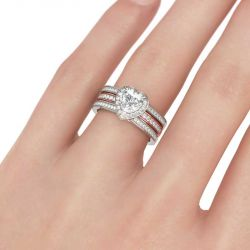 Jeulia Halo Heart Cut Interchangeable Sterling Silver Ring Set