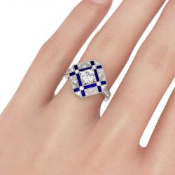 Jeulia Vintage Octagon Round Cut Sterling Silver Ring