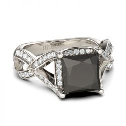 Jeulia Twist Princess Cut Sterling Silver Ring