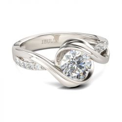 Jeulia Bypass Round Cut Sterling Silver Ring