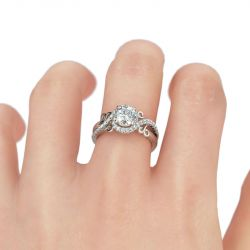 Jeulia Nature Inspired Round Cut Sterling Silver Ring
