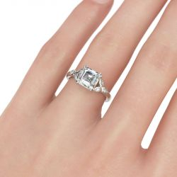 Jeulia Leaves Sterling Silver Ring