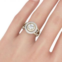 Jeulia Two Tone Double Halo Round Cut Sterling Silver Ring