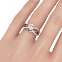 Jeulia Two Tone Intertwined Round Cut Sterling Silver Ring