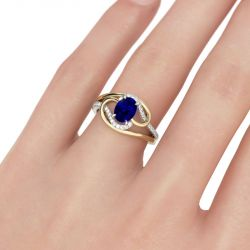 Jeulia Two Tone Oval Cut Sterling Silver Ring
