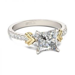 Jeulia Two Tone Heart Design Princess Cut Sterling Silver Ring