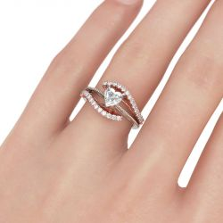Jeulia Bead Two Tone Heart Cut Sterling Silver Ring