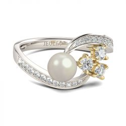 Jeulia Bypass Faux Pearl Sterling Silver Ring