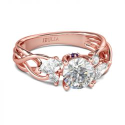 Jeulia Rose Gold Tone Interwoven Round Cut Sterling Silver Ring