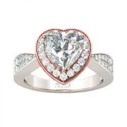 Jeulia Vintage Halo Heart Cut Sterling Silver Ring
