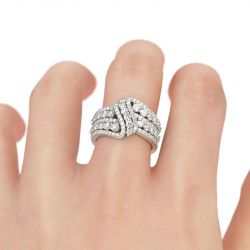 Jeulia Crossover Round Cut Sterling Silver Women's Wedding Band