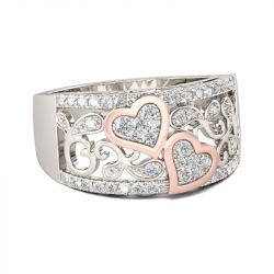 Jeulia Heart Round Cut Sterling Silver Women's Band