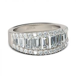 Jeulia Emerald Cut Sterling Silver Women's  Wedding Band