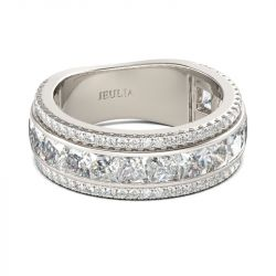 Jeulia Simple Princess Cut Sterling Silver Women's Band