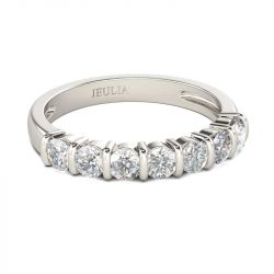 Jeulia Bar Setting Round Cut Sterling Silver Women's Band