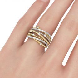 Jeulia Thread Design Two Tone Sterling Silver Women's Band