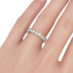 Jeulia Eternity Round Cut Sterling Silver Women's Band