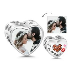 I Love My Husband Heart Shape Photo Charm Sterling Silver