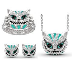 """Jeulia """"Grinning Like a Cheshire Cat"""" Sterling Silver Enamel Jewelry Set"""